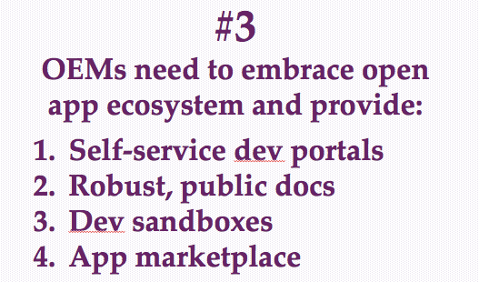 Self-service dev portals, Robust, public docs, Dev sandboxes, App marketplace